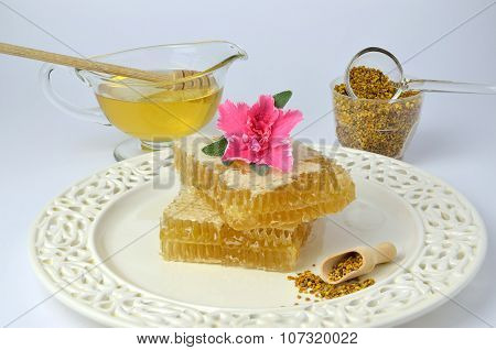 Honeycomb, Pollen, Honey And Flower