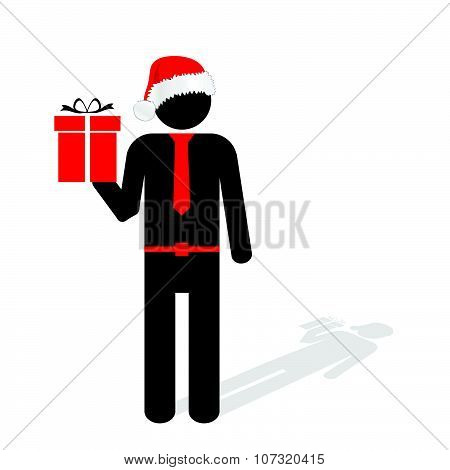 Man With Christmas Hat Red Vector Silhouette