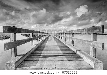 Wooden bridge in the marshes