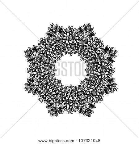 Abstract design element. Monochromatic flower.
