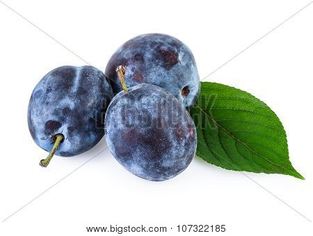 Plum Fruits over White