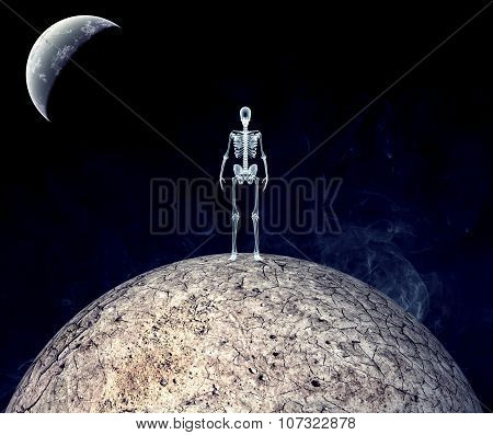 Dry Earth With Skeleton Isolated On Black