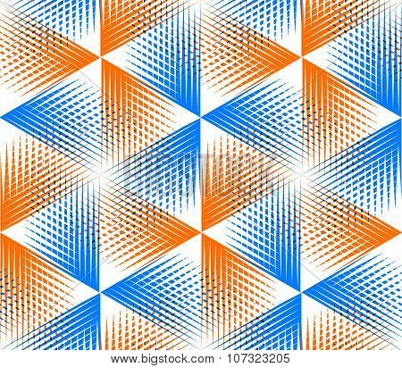 Yellow Illusory Abstract Geometric Seamless Pattern With 3D Geometric Figures. Vector Transparent