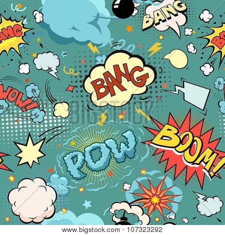 Seamless Comic Book Explosion, Bombs And Blast Set.  bubbles for speech, different sounds and arrows