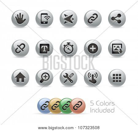 Web and Mobile Icons 10 // Metal Round Series -- The vector file includes 5 color versions for each icon in different layers.