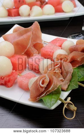 Ham With Melon And Watermelon