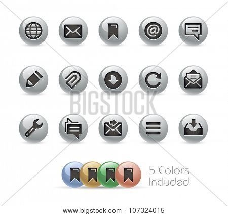 Web and Mobile Icons 9 // Metal Round Series -- The vector file includes 5 color versions for each icon in different layers.