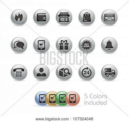 E-Shop Icons // Metal Round Series -- The vector file includes 5 color versions for each icon in different layers.