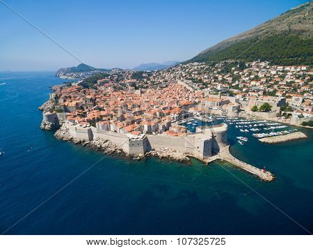 Aerial view of old city of Dubrovnik (Croatia), popular tourist attraction on Adriatic.