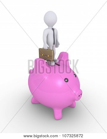 Pig Money Box And Businessman On Top