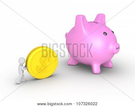 Businessman Deposits Coin