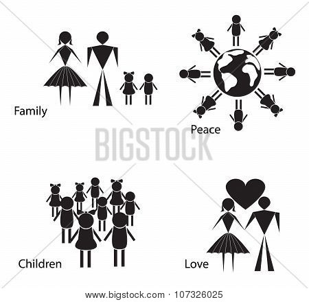 Black And White Silhouettes Of People And Children.
