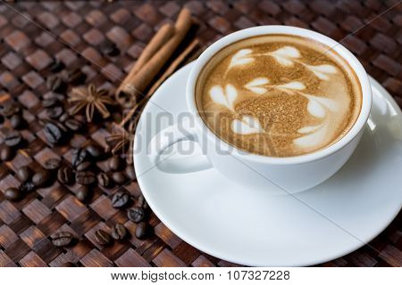 Capuccino Or Latte Coffee With Heart Shape