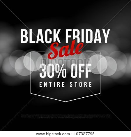 Black Friday sale ad template. Modern style vector design on bokeh background.