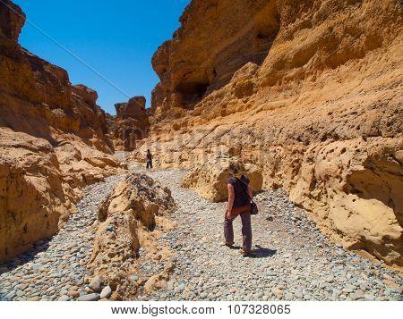 Trekking in namibian Sesriem Canyon near Sossusvlei