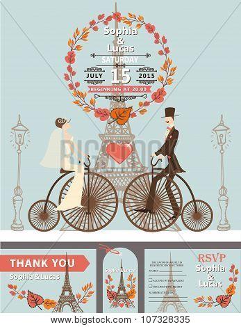 Wedding invitation.Bride,groom,retro bike.Eiffel tower in autumn