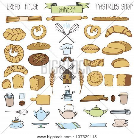 Doodle bakery,bread icons set.Colored vintage elements