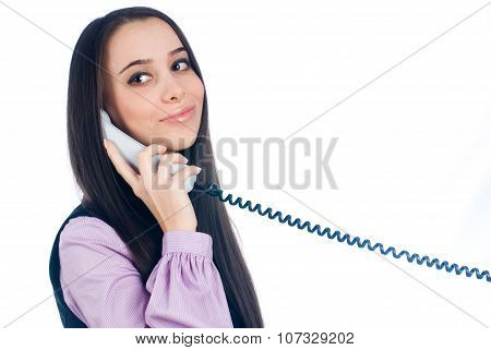 Attractive woman answering phone and smiling
