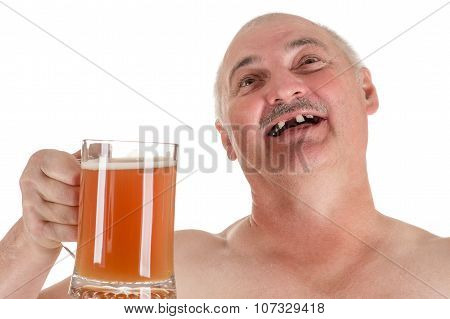 humorous portrait adult man with a beer in hand