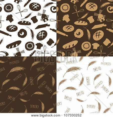 Doodle bakery,bread silhouette seamless pattern.Vintage set