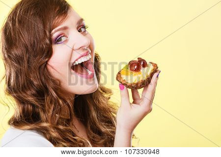 Closeup Woman Eating Fruit Cake Sweet Food