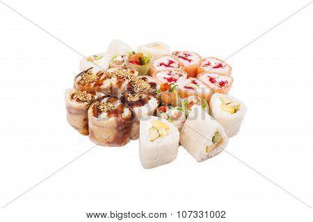 Sushi on the white background