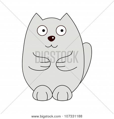 Vector illustration of grey funny fatty cat