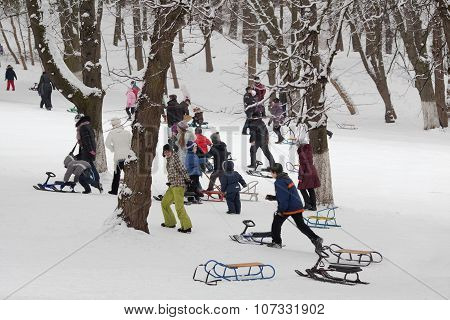 Sledding In Winter Park
