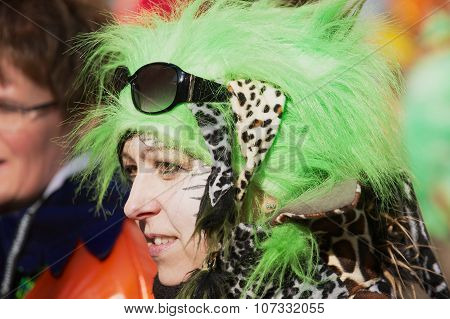 Portrait of a woman wearing a carnival costume at Lucerne Carnival in Lucerne, Switzerland.