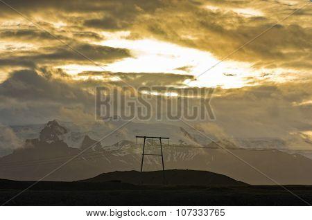 Landscape of Vatnajokull glacier with dramatic clouds at sunset