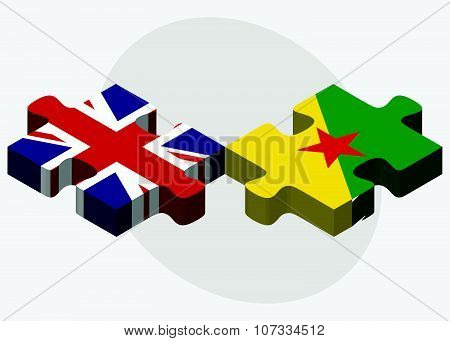 United Kingdom And French Guiana Flags