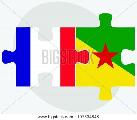 France And French Guiana Flags