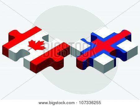 Canada And Faroe Islands Flags