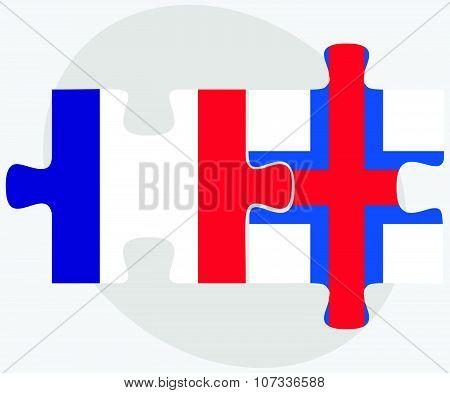 France And Faroe Islands Flags