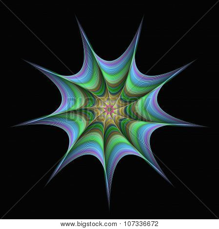 Abstract twisted star fractal design