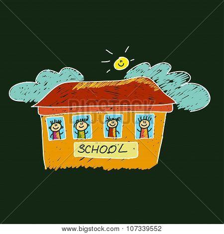 Happy children. School and education vector image.