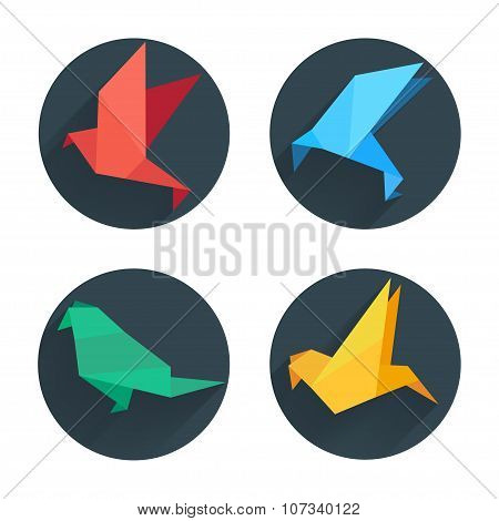 Origami flat paper bird on abstract round background with shadow.