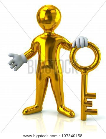 Man And Gold Key