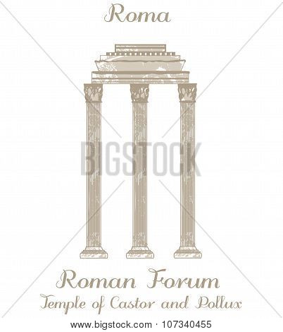 Vector Illustration - Temple Of Castor And Pollux