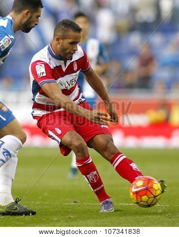 BARCELONA - NOV, 1: Youssef El-Arabi of Granada CF in action during a Spanish League match against RCD Espanyol at the Power8 stadium on November 1 2015 in Barcelona Spain