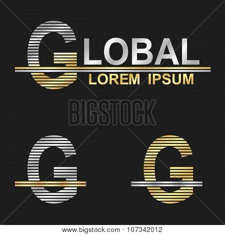 Metallic business font design - letter G