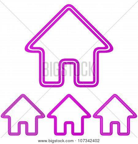 Magenta line house logo design set