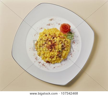 Saffron Risotto And Mushrooms