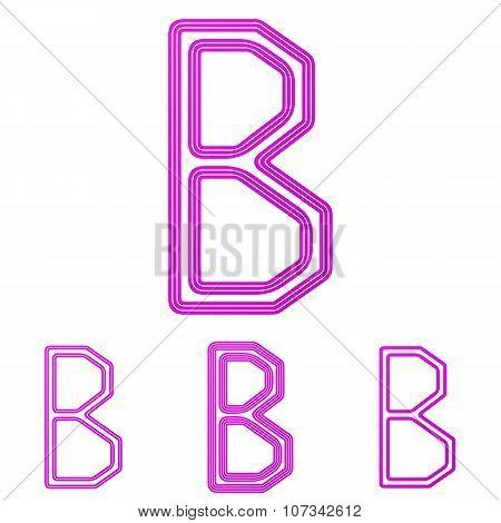 Magenta line b logo design set