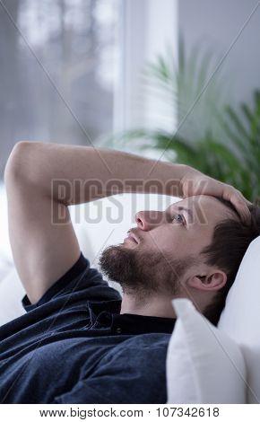 Worried Man Cannot Sleep