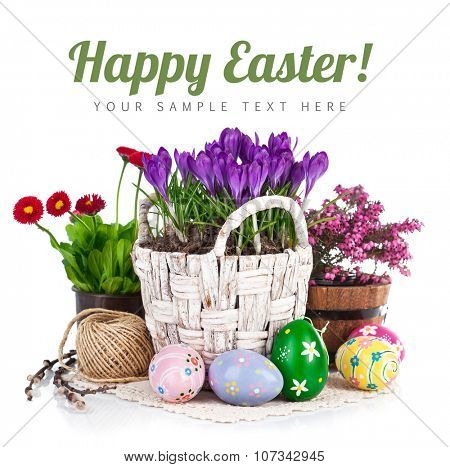 Easter eggs with spring flowers in basket. Isolated on white background. Illustration