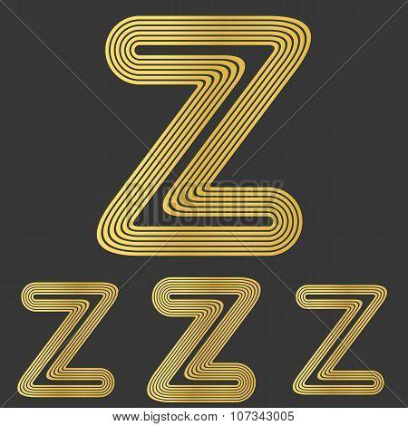 Golden z letter logo design set