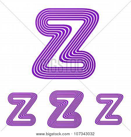 Purple z letter logo design set