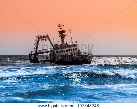 Shipwreck on Skeleton Coast in Namibia