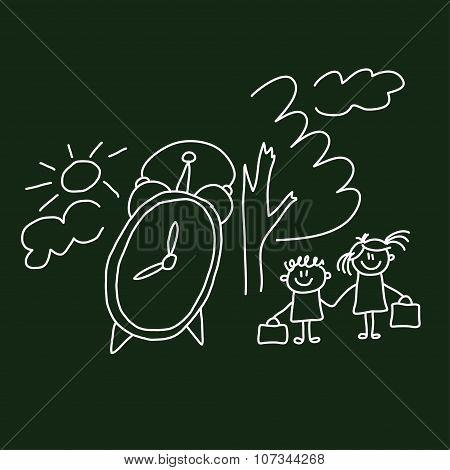 Cartoon happy children. Vector image.